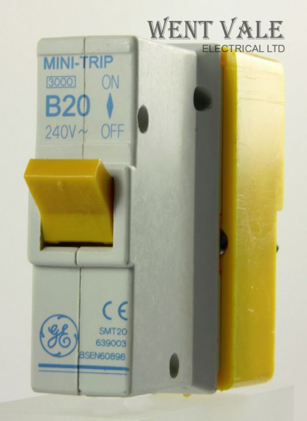 GE Mini Trip - SMT20 639003 - 20a Type B Plug-in Single Pole MCB and Base New